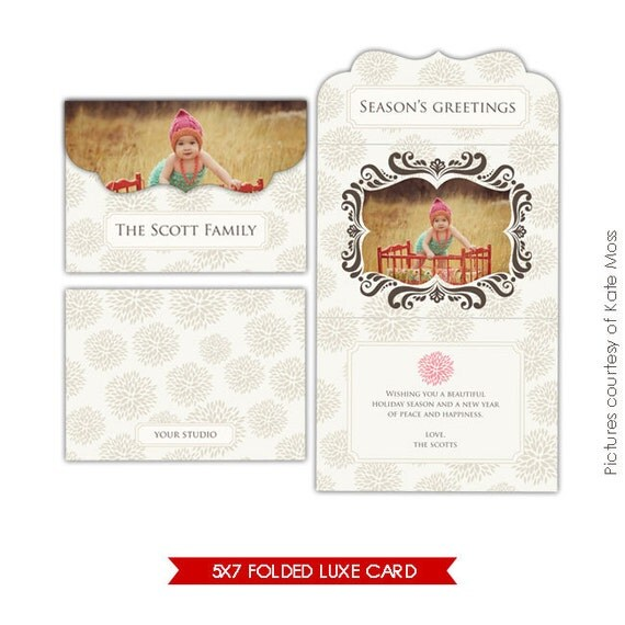 INSTANT DOWNLOAD - 5x7 Folded Luxe Card Template - First Greeting - E196