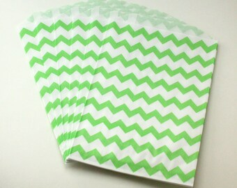 Green Chevron Favor Bags - Green Birthday Treat Bags - Gender Reveal Candy Buffet - Lime Middy Bags - Easter Treat Bags -  Green Goody Bags