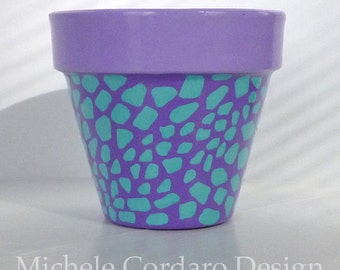 Aqua & Purple Reptile Painted Flower Pot  - 6-inch