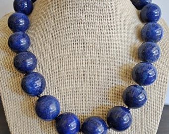 DYED LAPIS KNOTTED necklace with sterling silver massive clasp