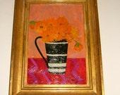 CELESTE RADLOFF Artist Celeste Radloff Painting Black and White Striped Mug Vintage Art Vintage Oil Painting Vintage Abstract Painting