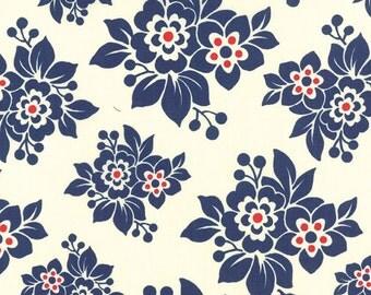 Milk Cow Kitchen Navy Flowers by Mary Jane for Moda - One Yard - 11613 25