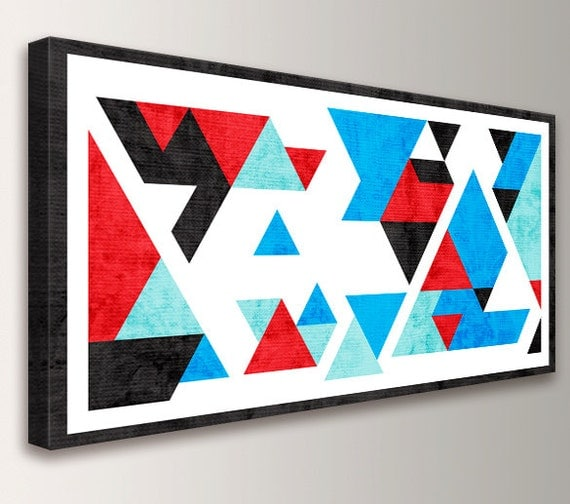 "Mid Century Geometric Art - Abstract Modern Wall Decor - Red Blue Black Teal and White Triangles - ""Axiom"""
