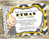 Color Customizable Party Like a Rockstar Baby Party Invitations
