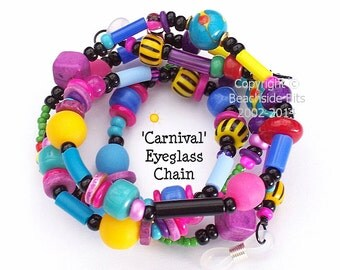 CARNIVAL, Eyeglass Chain, Lampwork, Cheery, Colourful, Australian Made