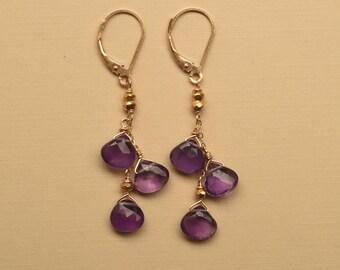 Amethyst Earrings, Long Dangle Earrings, Gemstone Earrings, Birthstone Earrings, February Birthstone, Purple Earrings