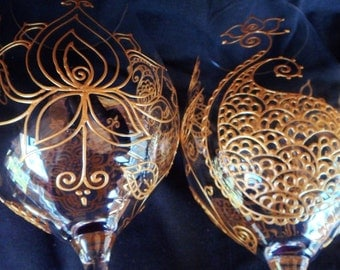 LOTUS & henna style glassware. Set of two. One of a kind hand hand painted with symbolism. crystal glass option to personalize. Custom order