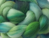 Hand dyed Romney wool top - 4oz in greens