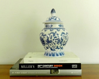 Vintage Ginger Jar Asian Blue White Porcelain Chinese Chinoiserie French Country Decor