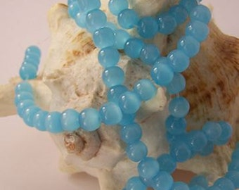 "Cyan Blue Milk Glass Beads - 6mm - 14"" Strand"