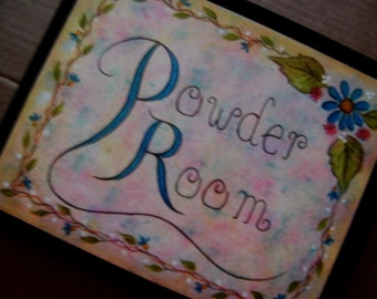 POWDER ROOM Retro Vintage Shabby Primitive Bath Bathrooml Chic 9x11 Sign