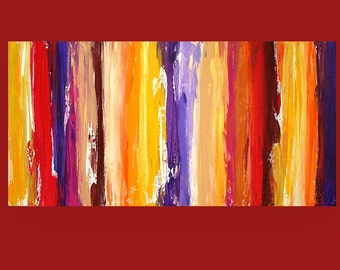 "Art and Collectibles, Abstract painting,Canvas Art Acrylic Abstract Painting on Canvas Titled: Romance 2 24x48x1.5"" by Ora Birenbaum"