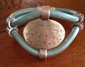 Aqua Greek Leather Cuff