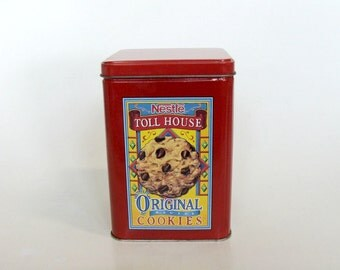 Red Nestle Toll House Cookies Tin, Collectible Tin Canister