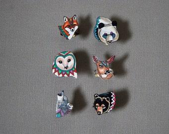 SALE Pick Any 2 Animal Rings  | Barn Owl,  Deer, Fox, Black Bear, Wolf, Panda | Best Friend Rings