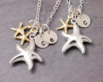 Mother Daughter Necklace, starfish necklace, mother necklace, mom necklace,  twins, beach necklace, initial necklace, N20