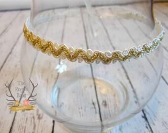 Cream & Gold Tie Back Headband -  Metallic Newborn Baby Halo Boho tie-back tieback head band