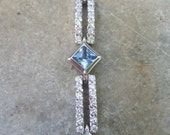 Sterling Aquamarine Diamante Crystal Link Bracelet in Box