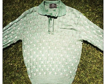 Awesome Vintage 60s MOD Lightweight TRIANGLE Knit SEARS Sweater Jumper - Size Medium