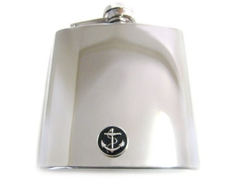 Black Anchor 6 oz. Stainless Steel Flask