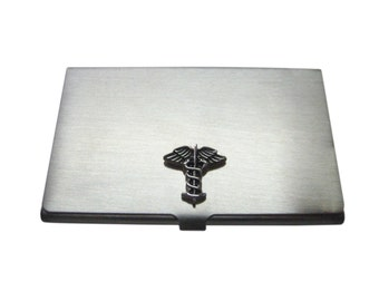 Black Toned Caduceus Medical Symbol Business Card Holder