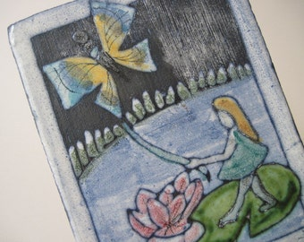 Vintage Ceramic Girl and Butterfly Art Tile Wall Hanging Sweden