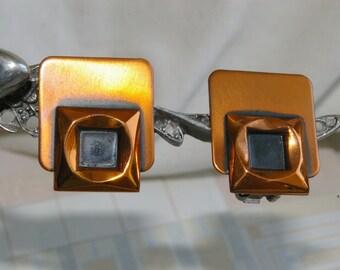 Vintage Copper Renoir Earrings - Art Deco - 1950's - Spring Back Clips