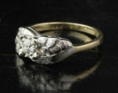 Vintage VS1 .31 Carat Diamond Engagement Ring / 14k Yellow and White Gold