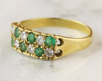 Vintage 18k Yellow Gold Emerald and Diamond Two Row Ring Engagement Ring Wedding Band Stacking