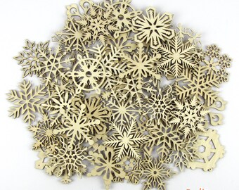 20% Off - BULK VARIETY - 50 Wooden Laser-Cut Holiday Snowflake Ornaments - 3 Inch Diameter - Sanded