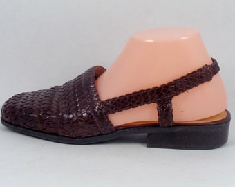 FREE SHIPPING Vtg Woven Leather Mules Slingbacks Size 8.5 BASS Brown Sandals Shoes Vintage