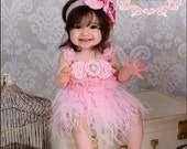 baby pink vintage ostrich feather dress - or you choose color- handmade ostrich feather dress with lace body