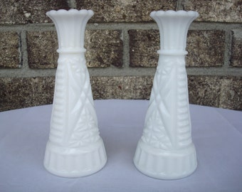 Vintage Anchor Hocking Stars and Bars Small Vases, Set of 2. Bud Vases. EXC COND