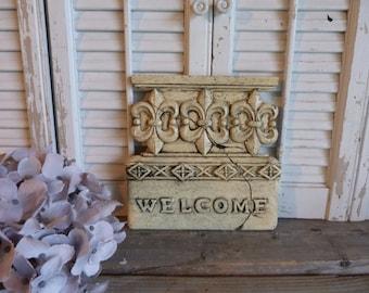 Fleur De Lis Welcome Sign, Cottage Chic Ivory Welcome Sign, Door Decor, Apartment Decor, Parisian Chic