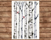 "Birch Trees & Winter Birds Print Watercolor Illustration. Personalized Custom Initials. Love Couple Anniversary Wedding Gift A4 11.7"" x 8.3"""