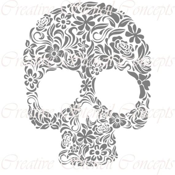 Floral Mexican Halloween Sugar Skull Decorative Stencil