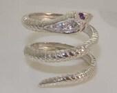 Fabulous Solid English 9K White Gold Genuine Amethyst  Precious Diamond Coiled Snake Band Wrap Ring  CustomizePlatinum9K10K14K18K