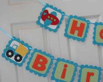 Transportation Happy Birthday Banner, Car Truck Birthday, Car Party, Airplane and Train Birthday