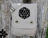 D20 Gaming Dice Canvas Messenger Bag - Laptop Bag - iPad Bag - Diaper Bag - School Bag