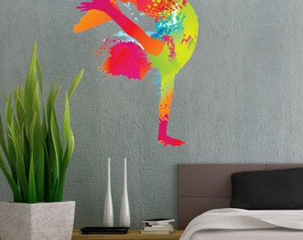 Colorful Dancing Handstand Figure Dance Handstand - Full Color Wall Decal Vinyl Decor Art Sticker Removable Mural Modern B139