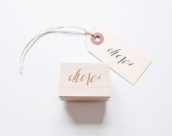 Merci hand lettered rubberstamp, calligraphy stamp, thank you stamp