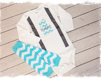 2 Pc Boys First Birthday Outfit, Personalization, Aqua and Grey Birthday Outfit, CAKE SMASH OUTFIT, Aqua Chevron Leg Warmers