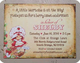 Vintage Strawberry Shortcake Baby Shower Invitations (10) - Strawberry Shortcake Invitation-Strawberry Party-Strawberry Baby Shower-Birthday