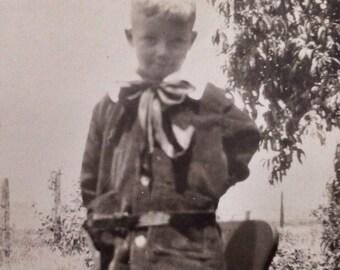 Original Antique Photograph Sweet Little Boy Standing On Chair