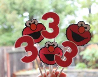 Sesame Street Elmo Cupcake Toppers Custom Birthday Decorations