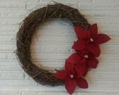 "Christmas Wreath / Rustic Grapevine and Poinsettia Wreath / Wreaths  / 18"" wreath / Christmas decor / Shabby Chic /  Cottage Chic"