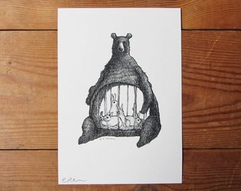 Hungry Bear A5 Print - My Body is a Cage - Arcade Fire Inspired Piece