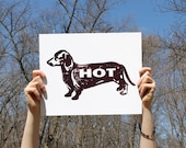 HOT DOG Print - Brown - Typographic Dachshund