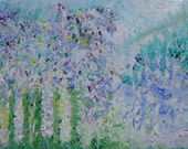 Spring Joy, Impressionism Floral, Blues Green, Lime, Purple, Lavender Garden, Original Oil Kathleen Leasure, FromGlenToGlen