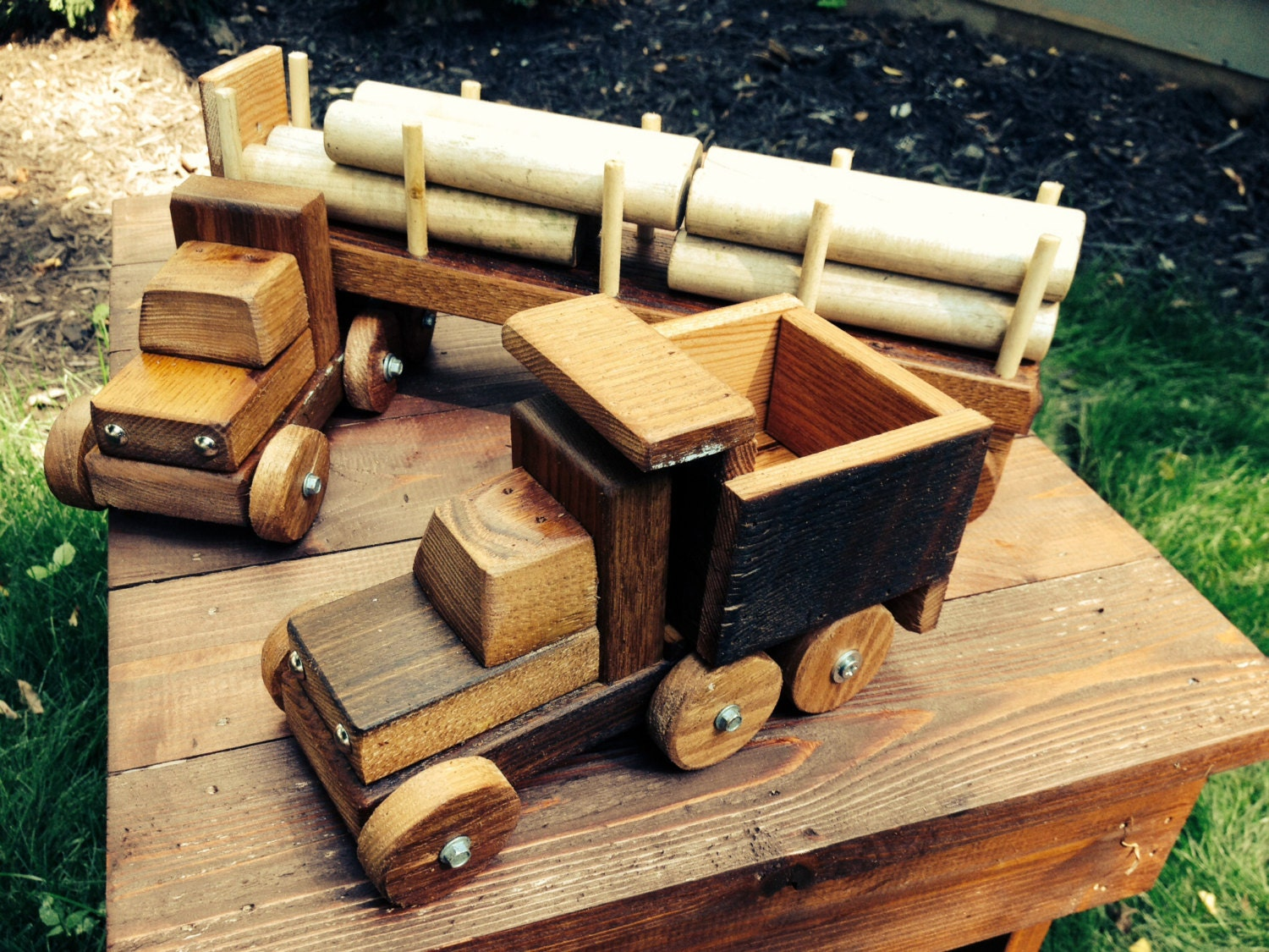 Wooden Toy Trucks For 3 Year Old : Reclaimed wood toy trucks made from year old ash by pear